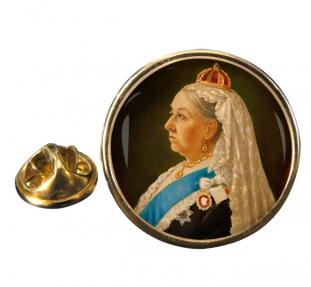 Queen Victoria Round Pin Badge