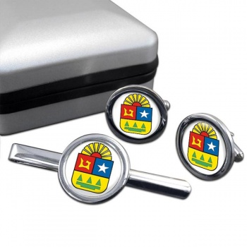 Quintana Roo (Mexico) Round Cufflink and Tie Clip Set