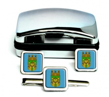 Recklinghausen (Germany) Square Cufflink and Tie Clip Set