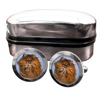 Red Persian Cat  Round Cufflinks