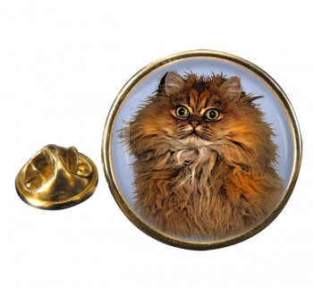 Red Persian Cat Round Pin Badge