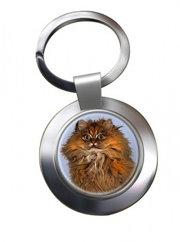 Red Persian Cat Metal Key Ring