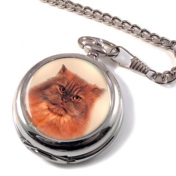 Red Tabby Persian Cat Pocket Watch