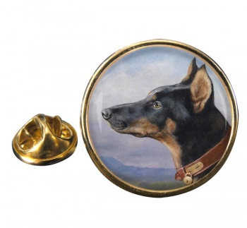 Portrait of a Dobermann by Carl Reichert Round Pin Badge