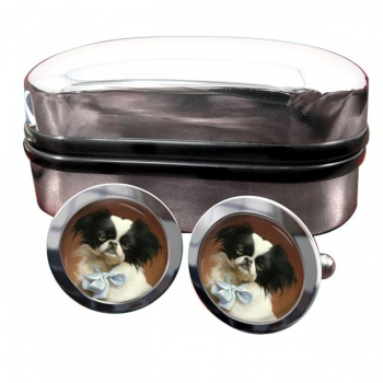 Japanese Chin by Carl Reichert  Round Cufflinks