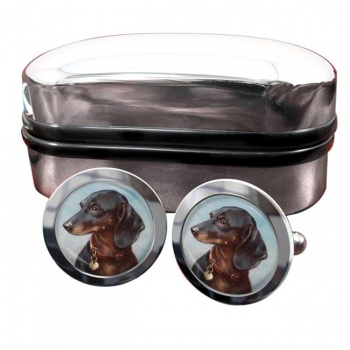 Dachshund by Carl Reichert  Round Cufflinks