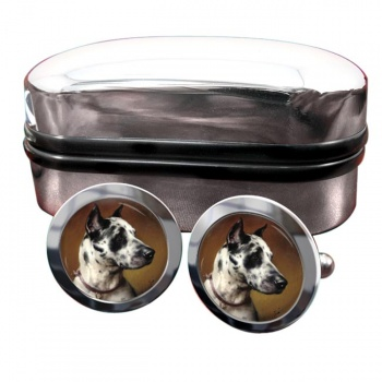 Deutsche Dogge by Carl Reichert  Round Cufflinks