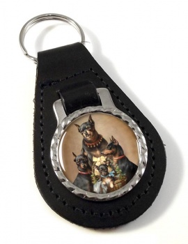 Dobermann family by Carl Reichert Leather Key Fob