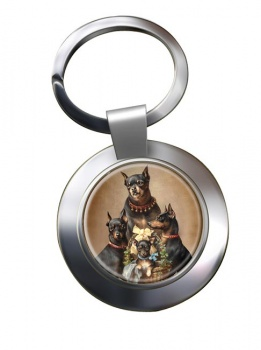Dobermann family by Carl Reichert Metal Key Ring