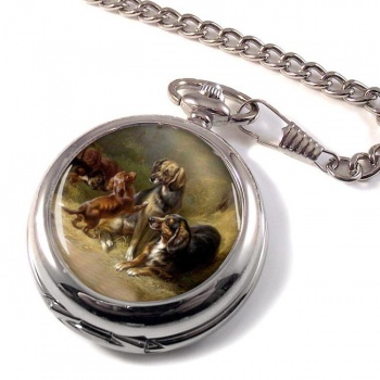 Happy Family (Gun Dogs) by Carl Reichert Pocket Watch