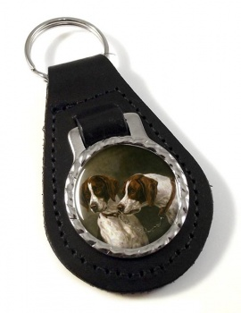 Pair of German Pointers by arl Reichert Leather Key Fob