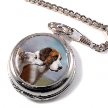 St. Bernard and Whippet by Carl Reichert Pocket Watch