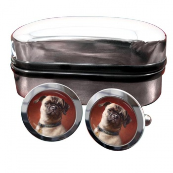 The Pug Dog  by Carl Reichert  Round Cufflinks