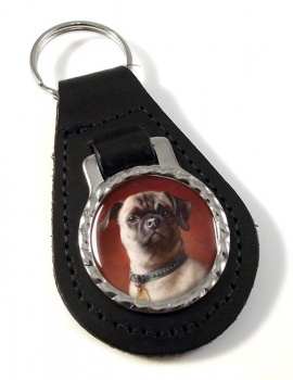 The Pug Dog by Carl Reichert Leather Key Fob