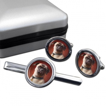 The Pug Dog  by Carl Reichert  Cufflink and Tie Clip Set