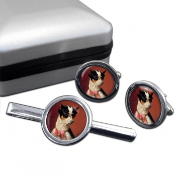 Toy Pinscher by Carl Reichert  Cufflink and Tie Clip Set