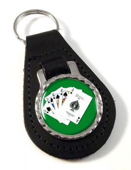 Royal Flush Leather Key Fob