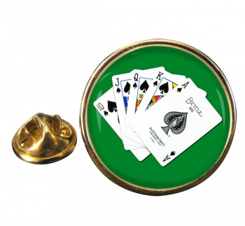 Royal Flush Round Pin Badge