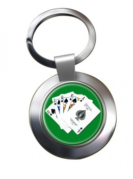 Royal Flush Chrome Key Ring