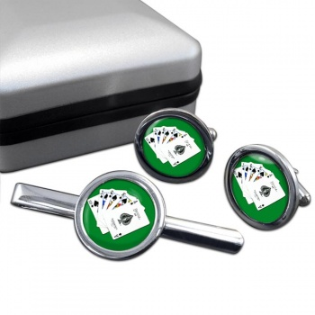 Royal Flush Round Cufflink and Tie Clip Set