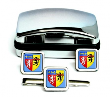 Rhone (France) Square Cufflink and Tie Clip Set