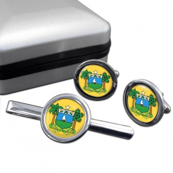 Rio Grande do Norte (Brasil) Round Cufflink and Tie Clip Set
