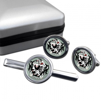 Roberts Coat of Arms Round Cufflink and Tie Clip Set