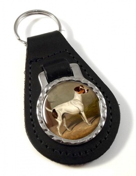 Jack Russell by Colin Graeme Roe Leather Key Fob
