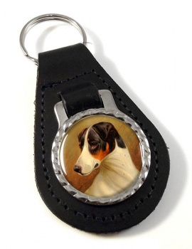Head Study of a Fox Terrier by Colin Graeme Roe Leather Key Fob
