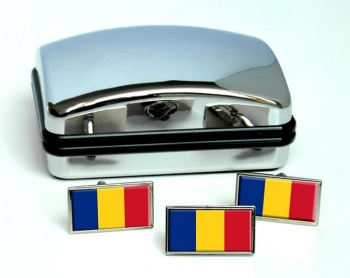 Romania Flag Cufflink and Tie Pin Set