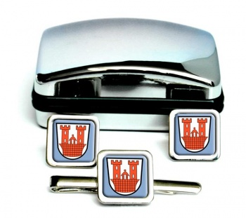 Rothenburg ob der Tauber (Germany) Square Cufflink and Tie Clip Set