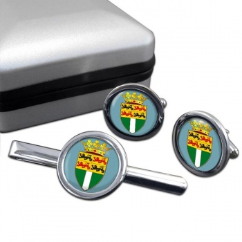 Rotterdam (Netherlands) Round Cufflink and Tie Clip Set