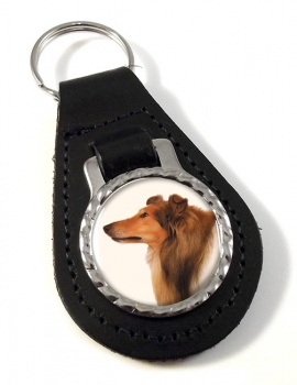 Rough Collie Leather Key Fob