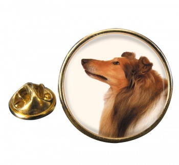 Rough Collie Round Pin Badge