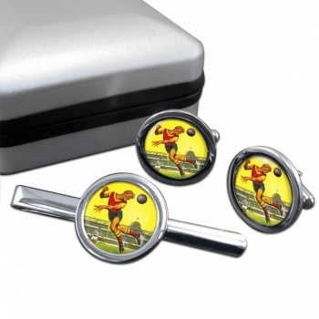 Roy of the Rovers Round Cufflink and Tie Clip Sert