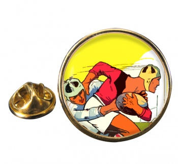 Rugby Round Pin Badge