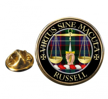 Russell Scottish Clan Round Pin Badge