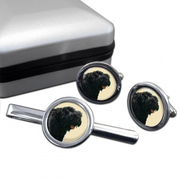 Black Russian Terrier  Cufflink and Tie Clip Set