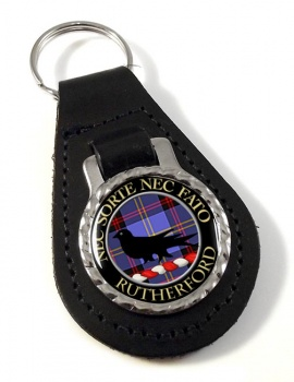 Rutherford Scottish Clan Leather Key Fob