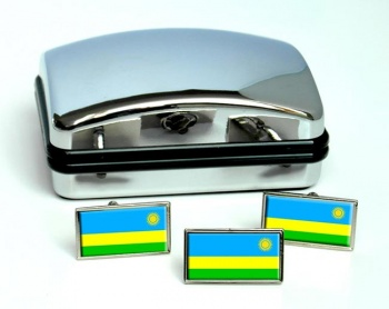 Rwanda Flag Cufflink and Tie Pin Set