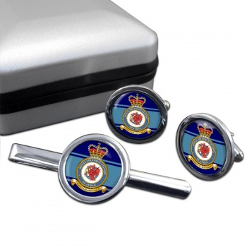 St Athan Round Cufflink and Tie Clip Set