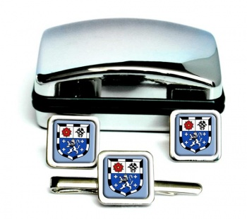 Saarbrucken (Germany) Square Cufflink and Tie Clip Set