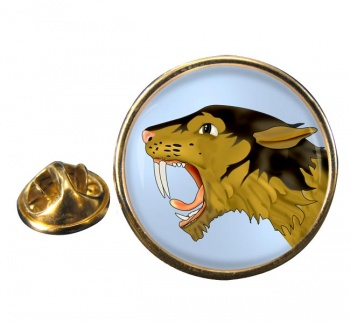 Smilodon (Sabre Toothed Tiger) Round Pin Badge