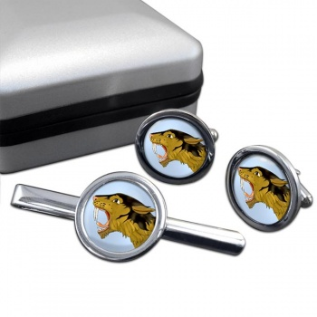 Smilodon (Sabre Toothed Tiger)  Cufflink and Tie Clip Set