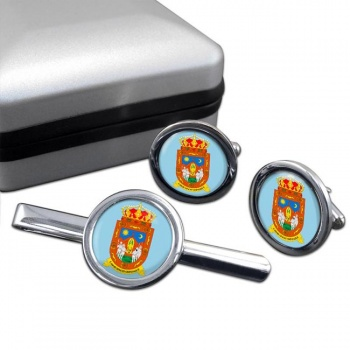 Zacatecas (Mexico) Round Cufflink and Tie Clip Set