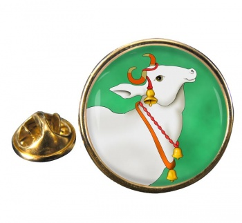 Sacred Cow  Leather Round Pin Badge