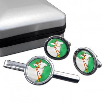 Sacred Cow  Round Cufflink and Tie Bar Set