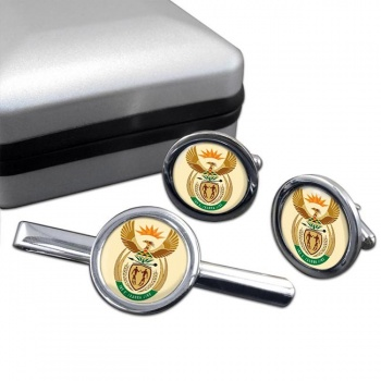 Crest (South Africa) Round Cufflink and Tie Clip Set