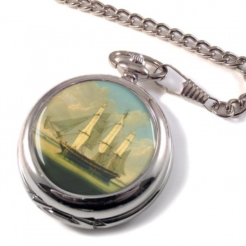 A Frigate by Robert Salmon Pocket Watch