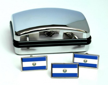 El Salvador Flag Cufflink and Tie Pin Set